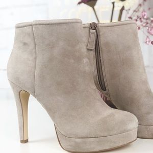 NWOT BCBG Gray Suede Boots With Side Zipper.